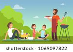 family at summer picnic. people ... | Shutterstock .eps vector #1069097822