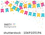 party flags with falling... | Shutterstock .eps vector #1069105196