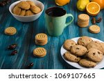 cookies on a wooden background | Shutterstock . vector #1069107665
