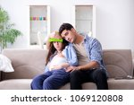 pregnant woman with husband at...   Shutterstock . vector #1069120808
