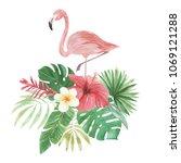 flamingo tropical watercolor... | Shutterstock . vector #1069121288
