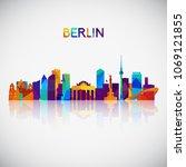 berlin skyline silhouette in...   Shutterstock .eps vector #1069121855