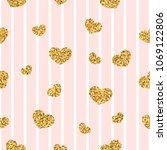 gold heart seamless pattern.... | Shutterstock .eps vector #1069122806
