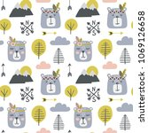 seamless childish pattern with... | Shutterstock .eps vector #1069126658
