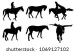 set of vector horses silhouettes | Shutterstock .eps vector #1069127102
