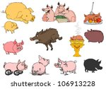 Lots Of Different Pigs On A...