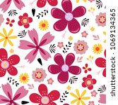amazing floral vector seamless... | Shutterstock .eps vector #1069134365