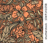 vector floral seamless pattern... | Shutterstock .eps vector #1069141058