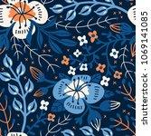 vector floral seamless pattern... | Shutterstock .eps vector #1069141085