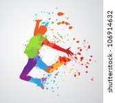 dancing boy with colorful spots ... | Shutterstock .eps vector #106914632