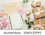wedding background with... | Shutterstock . vector #1069152992