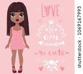 cute vector girl and positive... | Shutterstock .eps vector #1069167995
