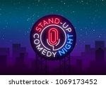 stand up comedy show is a neon... | Shutterstock .eps vector #1069173452