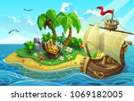 wooden ship near the tropical... | Shutterstock .eps vector #1069182005