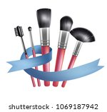 set of makeup brushes and blue... | Shutterstock .eps vector #1069187942
