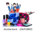 make up brushes in cup and... | Shutterstock . vector #106918805
