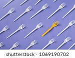 many white plasic forks and a... | Shutterstock . vector #1069190702