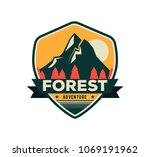 modern shield forest camp badge.... | Shutterstock .eps vector #1069191962