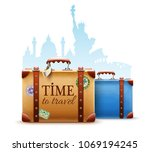 retro suitcases for travel... | Shutterstock .eps vector #1069194245