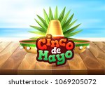 3d cinco de mayo party poster... | Shutterstock .eps vector #1069205072