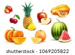 pineapple apple watermelon...   Shutterstock .eps vector #1069205822