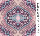 indian rug paisley ornament... | Shutterstock .eps vector #1069205972