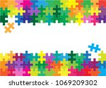 colorful jigsaw puzzles and... | Shutterstock .eps vector #1069209302