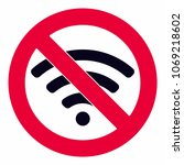 wireless no wifi icon sign flat ... | Shutterstock .eps vector #1069218602