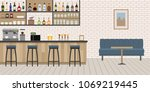 empty cafe bar interior with... | Shutterstock .eps vector #1069219445