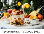 healthy breakfast served with... | Shutterstock . vector #1069221968