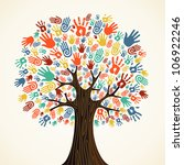 isolated diversity tree hands... | Shutterstock . vector #106922246