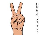hand with two fingers up ... | Shutterstock .eps vector #1069226078