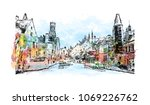 buildings view with street of... | Shutterstock .eps vector #1069226762
