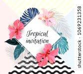 summer tropical background...   Shutterstock .eps vector #1069231358