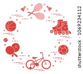 badminton rackets and... | Shutterstock .eps vector #1069234112