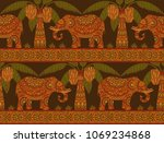 seamless pattern with elephant... | Shutterstock .eps vector #1069234868
