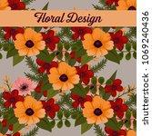beautiful floral design. vector ... | Shutterstock .eps vector #1069240436