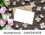 blank white greeting card in... | Shutterstock . vector #1069242428