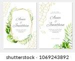 wedding invitation with green...   Shutterstock .eps vector #1069243892