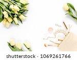 frame boundaries. yellow tulip... | Shutterstock . vector #1069261766
