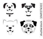 set cute dogs cartoon vector... | Shutterstock .eps vector #1069276322