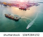 aerial view of ships vessels... | Shutterstock . vector #1069284152