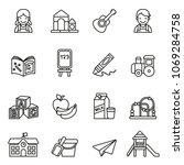 preschool icons set on white...   Shutterstock .eps vector #1069284758