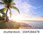 work and vacation. young man... | Shutterstock . vector #1069286678