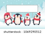 penguin cartoon vector... | Shutterstock .eps vector #1069290512