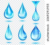 set of translucent drops in... | Shutterstock .eps vector #1069291955