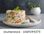russian traditional salad... | Shutterstock . vector #1069295375