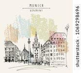 munich  bavaria  germany ... | Shutterstock .eps vector #1069298696