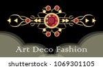 art deco ruby brooch. filigree... | Shutterstock .eps vector #1069301105