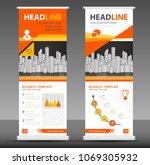 orange roll up banner stand...   Shutterstock .eps vector #1069305932